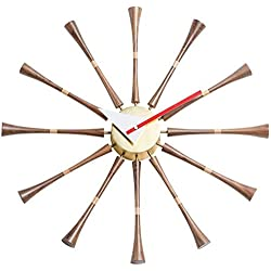 Mid Century George Nelson Ball Clock Painted Solid Wood Non Ticking Decorative Modern Silent Wall Clock for Home Kitchen Living Room Office etc. - Retro Design (Color : Sunburst Clock Walnut)-SPI