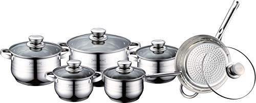 Royalty Line - Batería de cocina (12 piezas, acero inoxidable)