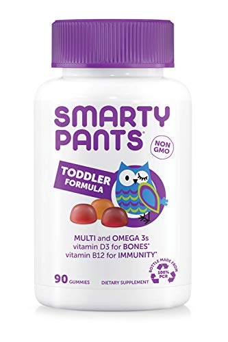 SmartyPants Toddler Formula Daily Gummy Multivitamin: Vitamin C, D3, & Zinc for Immunity, Gluten Free, Omega 3 Fish Oil (DHA/EPA), Antiviral, Vitamin B6, Methyl B12, 90 Count (30 Day Supply)