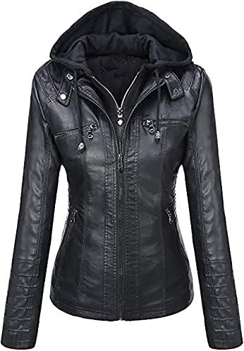 T&I.SFO Women Black Faux Leather Jacket in very Cheap Price   Black Biker Hooded Jacket For Women Ladies