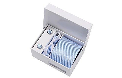Coffret Montréal - Cravate bleu ciel à fines rayures blanches satinées, boutons de manchette, pince à cravate, pochette de costume