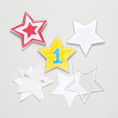 Baker Ross Kits de chapas en forma de estrella para niños - Juegos de manualidades infantiles creativas (pack de 10), blanco