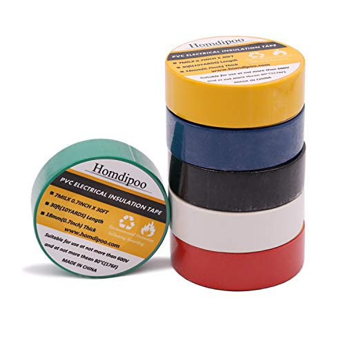 Homdipoo Electrical Tape Colors 6 Pack 3/4-Inch by 30 Feet, Voltage Level 600V Dustproof, Adhesive for General Home Vehicle Auto Car Power Circuit Wiring 3m Multicolor (Multicolored)