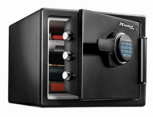 Master Lock Feuerfester Tresor 22,8l [Feuer-und Wasserfest] [groß] [elektronische Kombination] – LFW082FTC – Für Ausweise, A4-Dokumente, kleine Elektrogeräte, Juwelen usw, Schwarz, Large