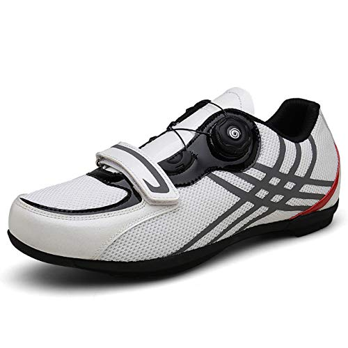 JKC Cycling Shoes Four Seasons Lock-Free Leisure Mountain Hard-Soled Cycling Sports Shoes Outdoor Riding Power-Assisted Outdoor Sports (White, Numeric_11_Point_5)