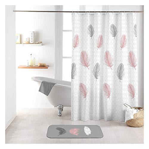 Sanixa Duschvorhang Textil 180x200 cm Federn weiß rosa grau wasserabweisend waschbar Badewannenvorhang Vorhang hochwertige Qualität mit Ringen Metallösen