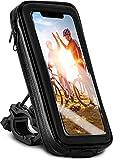 moex Soporte de teléfono móvil para bicicleta compatible con Apple iPhone 13 Mini – Bolsa para manillar con ventana de visión, inclinable y giratorio, soporte para manillar impermeable, color negro