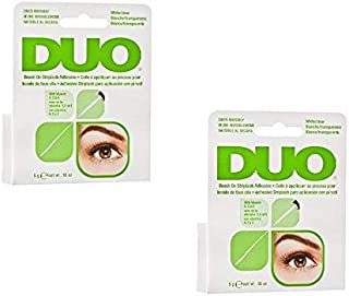 DUO Brush-On Lash Adhesive with Vitamins A, C & E, Clear, 0.18 oz - 2 Pack (6 Pinkleaf Greeting Cards Included)