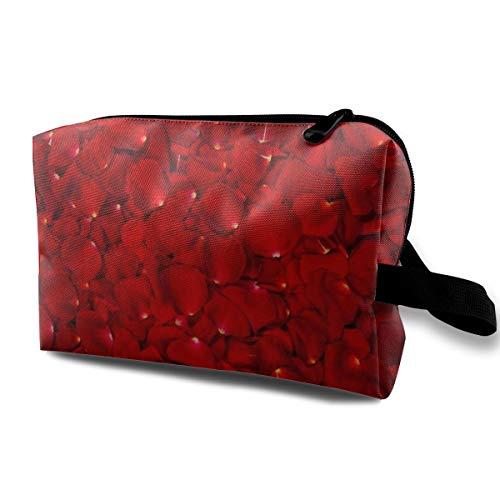 Trousse à maquillage pour femme, fond de belle étui à crayons pétales de roses rouges