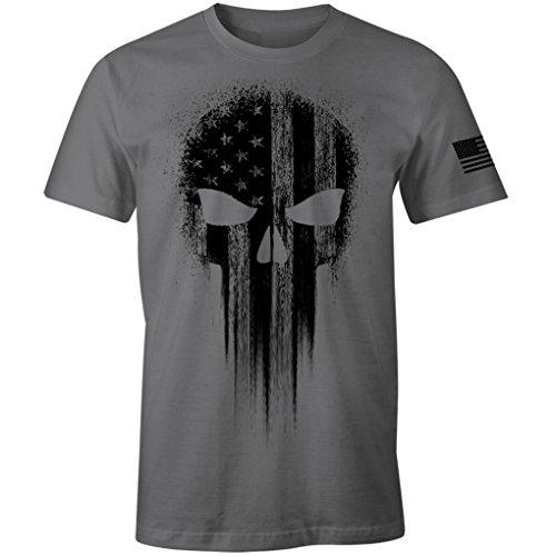 USA Military American Flag Black Skull Patriotic Men's T Shirt (Charcoal, 2XL)