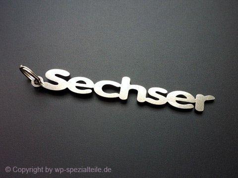Sechser Emblem Schlüsselanhänger aus Edelstahl hochwertig