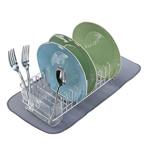 mDesign égouttoir à Vaisselle (Lot de 2) – avec Un Range-Couverts en métal et Un Tapis Vaisselle – egouttoir Vaisselle pour Un séchage Rapide – argenté (Mat)