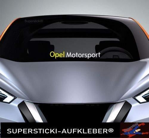 SUPERSTICKI Windschutzscheiben Sticker ca 40 cm Opel Motorsport farbig OPC Autoaufkleber Tuning Decal A956 aus Hochleistungsfolie Aufkleber Autoaufkleber Tuningaufkleber Hochleistungsfolie für