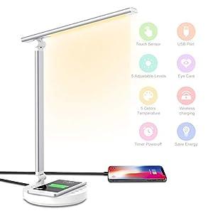 HebyTinco Lámpara Escritorio LED con Carga Inalámbrica Wireless y Puerto USB, 5 Niveles de Brillo, 5 Modos, Plegable de Escritorio Control Táctil, Protege a Ojos, para Estudio, Oficina (Blanco)