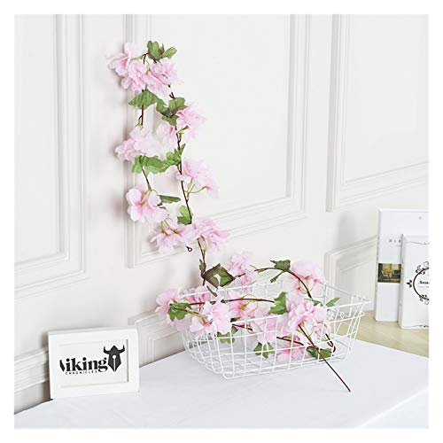 HongTeng-Seto de Plantas Artificiales 230 cm Flores Artificiales Decoración Sakura Cherry Blossoms Vine Lvy para Boda Home Jardín Decoración Seda Flor Ratán (Color : Pink)