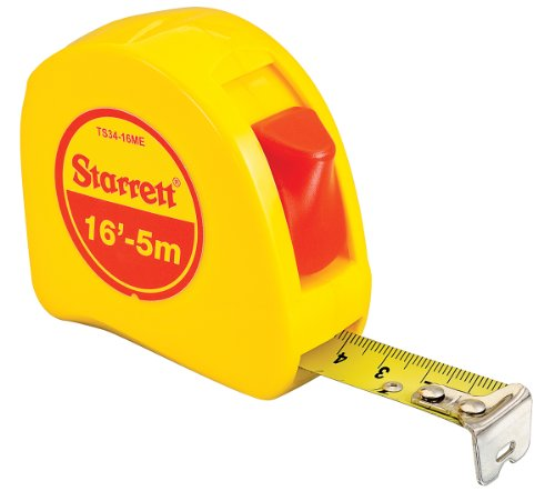 "Starrett KTS34-16ME-N ABS Plastic Case Yellow Measuring Pocket Tape, English/Metric Graduation Style, 16' (5m) Length, 0.75"" (19mm) Width, 0.0625"" Graduation Interval"