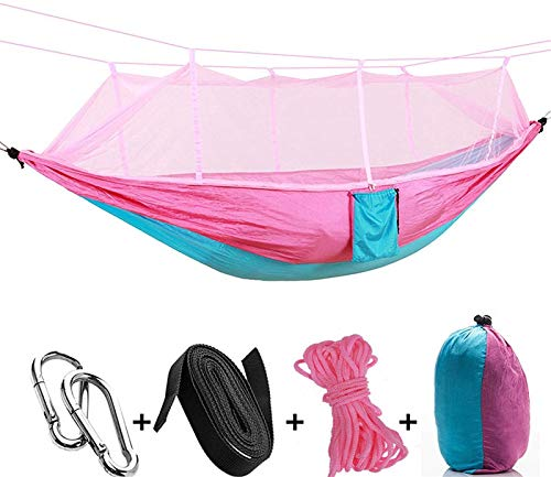 ZJDU Portable Lightweight Hammock Celldeal Camping Hammock with PopUp Light Portable Outdoor Parachute Hammocks Swing Sleeping Hammock Camping Stuff Pink (Color : Skybluewithpink)
