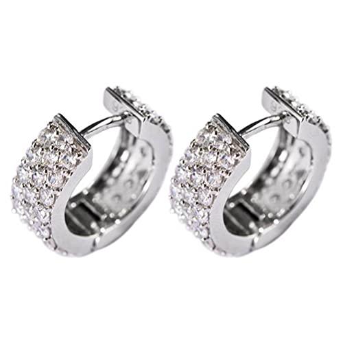 WOZUIMEI Pendiente de Estilo Chino S925 Plata Esterlina Estilo Coreano Simple Zircon Flash Diamante Pequeño Círculo Hebilla de Oreja Pendientes de Moda FemeninaComo se muestra