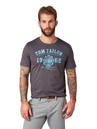 Tom Tailor Logo T-Shirt, Grigio (Tarmac Grey 10899), Medium Uomo