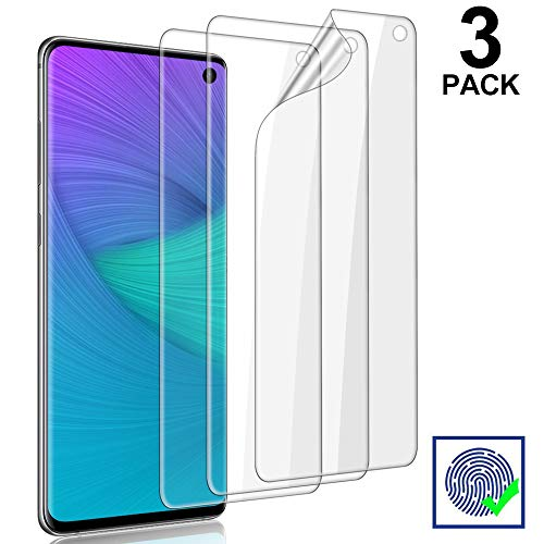 3-Pack Galaxy S10 Screen Protector, [Self Healing] [Easy Install & Bubble Free] [Ultrasonic Fingerprint Support] Transparent HD TPU Protetive Film for Samsung Galaxy S10