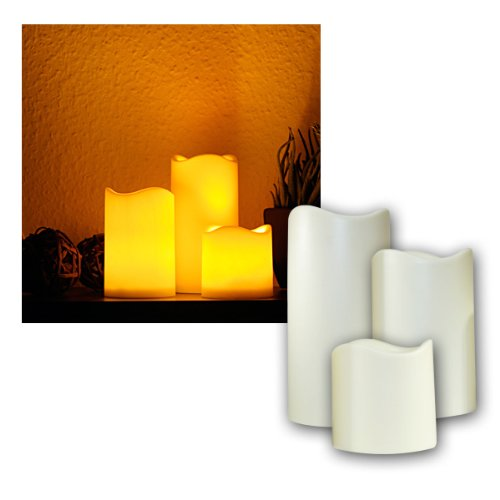 3er Set LED Kerzen für Außen mit Timer, elektrisch