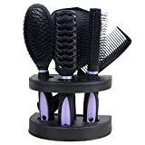 Domilay 5Pcs CojíN de Peine AntiestáTico Cepillo Salon Home Hair Styling Set con Espejo Nuevos Conjuntos de Peine de Masaje para el Cabello Morado