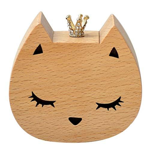 Hong Yi Fei-Shop Caja Musical Caja de música de Madera Regalo de cumpleaños Regalo de San Valentín Caja de música Regalo Creativo Caja de música (Color : Cat)