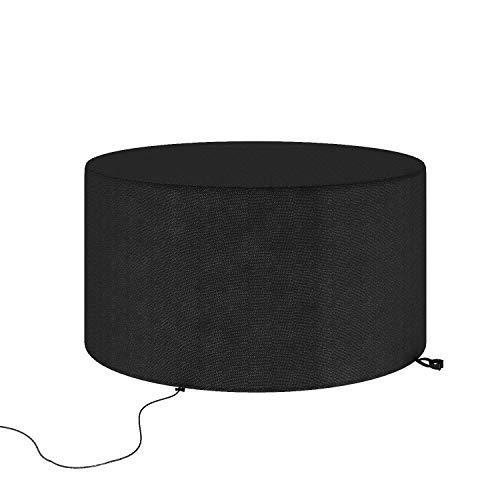 Cubierta de muebles de jardín, cubierta de mesa al aire libre, cubiertas de muebles de exterior, impermeable a prueba de viento anti-UV patio cubierta de mesa circular (negro)
