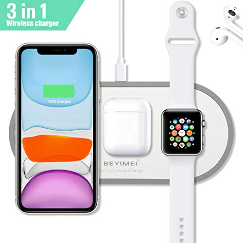 BEYIMEI 3-in-1-Wireless-Ladegerät, 10 W Qi-Fast-Wireless-Sensor-Ladegerät, kompatibel mit Airpods 2.0, iWatch Series 5 4 3 2 1 und OS 6.0, iPhone 8, 8 Plus, X, Xr, Xs, Max, iPhone 11 Pro Max