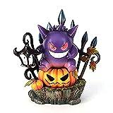BANNESE Halloween Pumpkin Gengar King Pokémon Mignon Gengar Figure avec Lumière LED, Statues De Jardin Résine Ornements Intérieur Extérieur Evil Smile GNOME Décorations