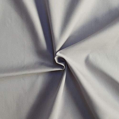 designers-factory Tessuto di Cotone al Metro - Disponibile in Diversi Colori - Stoffe di Cotone Tinta Unita – Stoffa al Metro 100% Cotone - Tessuto in Popeline per Cucire (1m x 1m46, Grigio)