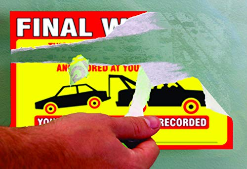 """Final Warning Stickers (Pack of 50) Parking Violation Notice Vehicle is Illegally Parked - Large Size 6"""" X 9"""" – Yellow Photo #3"""