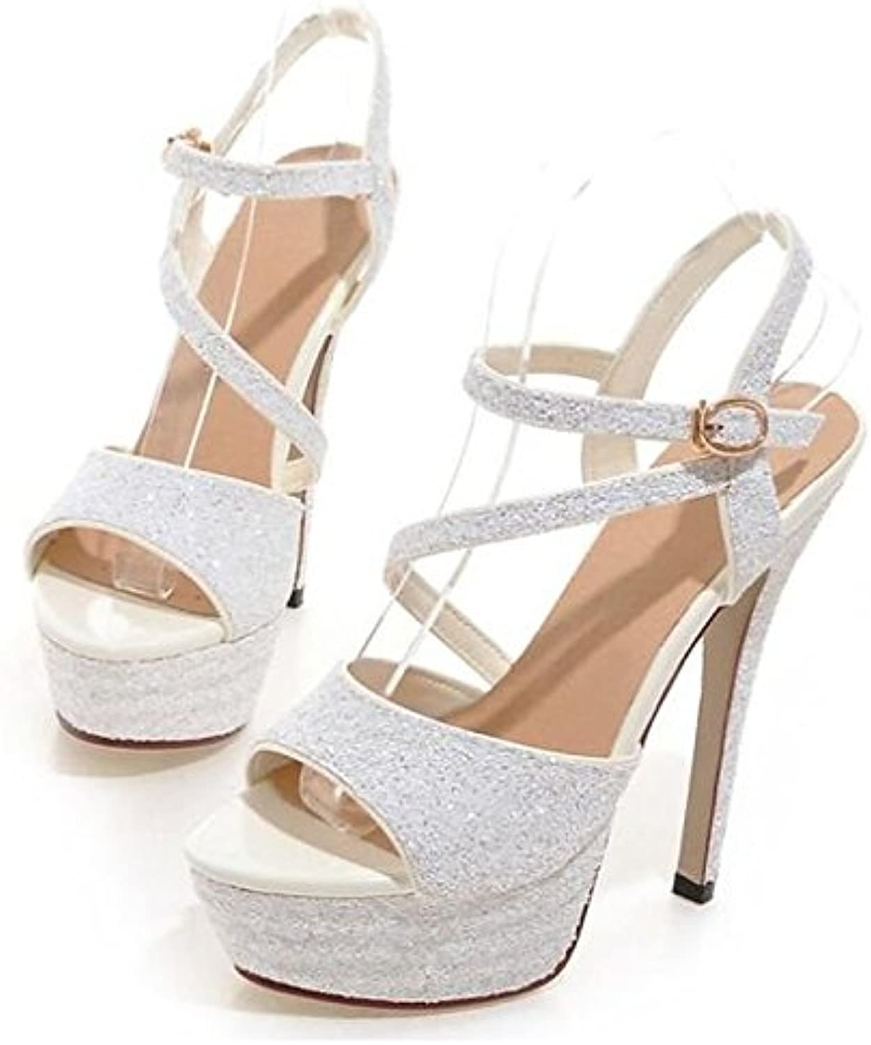 Women's shoes PU Spring Summer Basic Pump Comfort Sandals Stiletto Heel for Casual gold White Black Silver