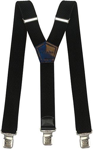 Hosenträger für Herren breit extra starken 4 cm mit 3er Clips Y-Form Lange für Männer und Damen Hose (Schwarz)