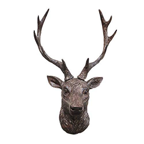 Darthome Ltd Vintage Aged Resin Reindeer Deer Stags Antlers Head Wall Mounted Large Sculpture