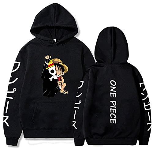 Anime One Piece Luffy Print Hoodies Sweatshirts Unisex Hooded Pockets Streetwear Black