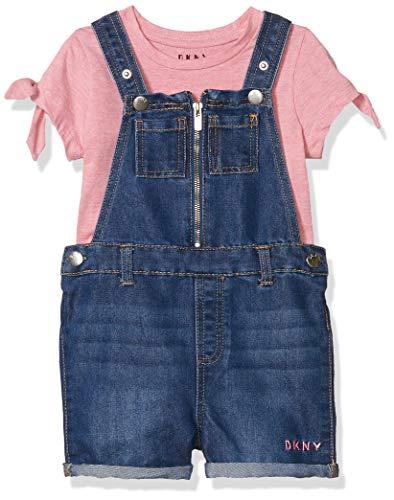 DKNY Girls' Shorts Set, Shortall Fuchsia Pink Heather, 5