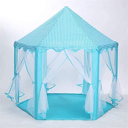 Tienda de campaña para niños, tienda de campaña portátil para niños, interior, exterior, castillo de princesa, mosquitera plegable, casa de juegos para exterior, playa interior, luz de cortina de estrella, azul,