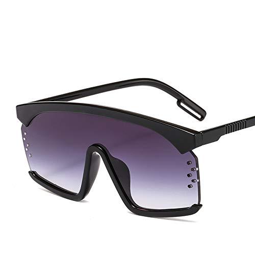 XIELH Gafas de sol Gafas De Sol De Gran Tamaño para Mujer Lente Entera Gradiente Gafas De Sol Hombre Damas Sombras Goggle UV400, Negro