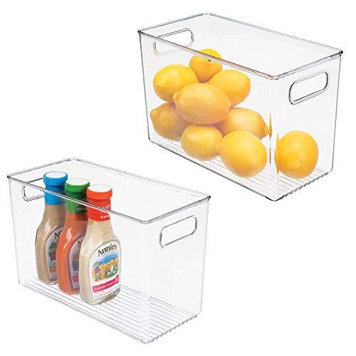 mDesign Set da 2 Contenitore Alimenti con pratici Manici – Portaoggetti frigo dai Bordi Alti per l'organizzazione dei cibi – Contenitore Freezer in plastica Anche per frigo e dispensa – Trasparente