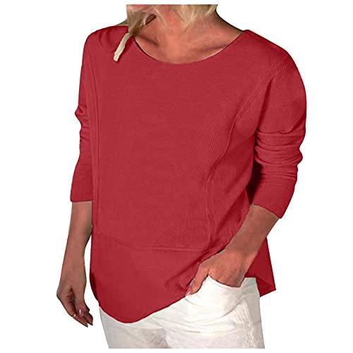 Camisa Mujer Acanalado Color Sólido Blusones Mujer Manga Larga Suelta Camiseta Mujer de Cuello Redondo Casual Túnica de Poliéster Elegante Tops Damas Ideal para Oficina,Trabajo,Entrevista