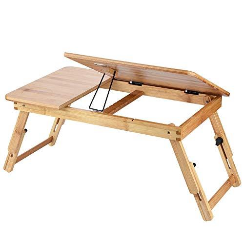 EBTOOLS Soporte para Laptop Plegable de Cama Sofá Oficina Ajustable Alto Mesa de Ordenador Portátil de Madera de Bambu(50 * 30cm)