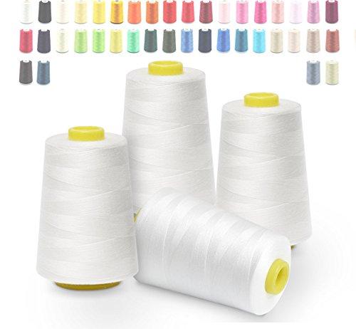 Hilos de coser de poliéster Cubewit 4 PCS hilo de coser remalladora para la máquina de coser - 20000 yardas (Blanco)