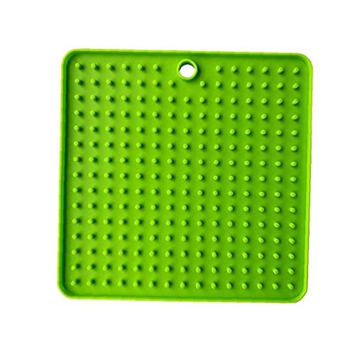 LjzlSxMF Pad Treat Innovadora para Perro De Silicona Perros Lick Pad Slow Alimentador Treat Dispensing Mat para Mascotas Baño Y Estética (Verde)