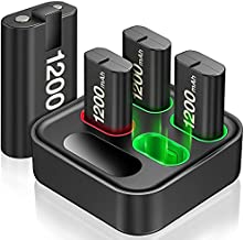 Rechargeable Battery Packs for Xbox One/Xbox Series X|S, 4 X 1200mAh Xbox One Controller Battery Packs, Rechargeable Batteries with Charging Station for Xbox One/One S/One X/One Elite