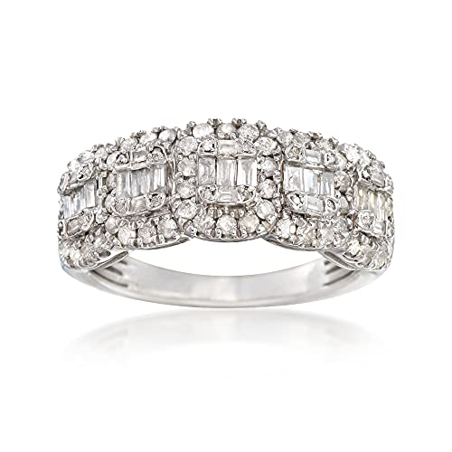 Ross-Simons 1.00 ct. t.w. Round and Baguette Diamond Ring in Sterling Silver. Size 8