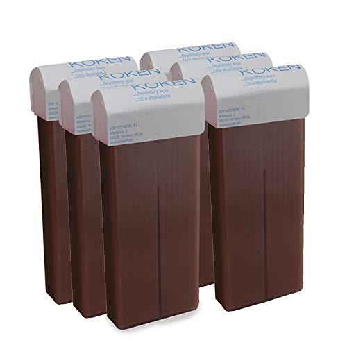 KOKEN - Cera Depilatoria Roll-on 100ml Universal - Pack 6 Cartuchos Chocolate (Resinas 100% Españolas)