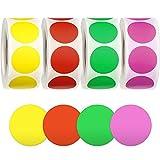 25mm 2000 Colores Pegatinas Redondo Adhesivos - 4Colores, Rojo, Rosa, Amarillo, Verde 500 Piezas/ Rollo
