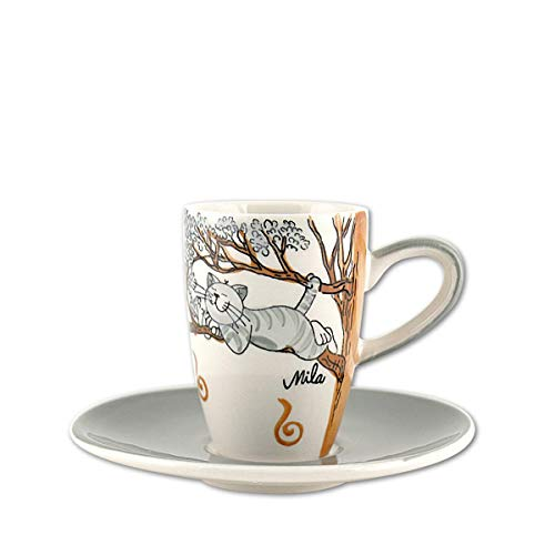 440s.de Mila Keramik Espresso-Tasse mit Untere, Oommh Katze Pure Relax | MI-88184 | 4045303881846