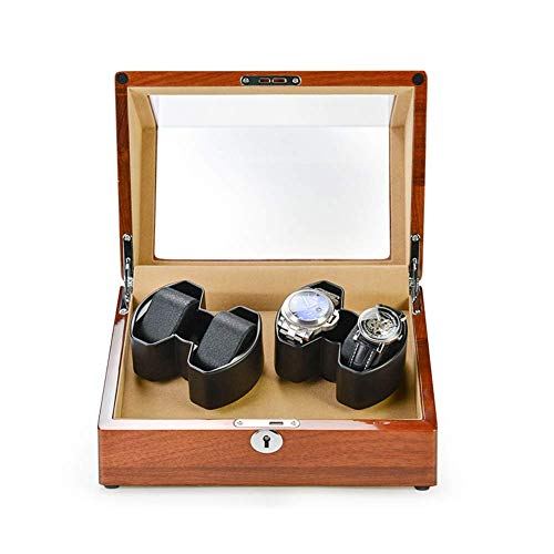 ZHANGYH Caja de reloj mecánica de madera automática con almohada suave, motor silencioso y 5 modos de rotación, caja de reloj para reloj 4/6 (color: A)